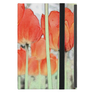 Capa iPad Mini flores vermelhas da tulipa do estilo artístico.