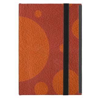 Capa iPad Mini Pontos dispersados tangerina na textura de couro