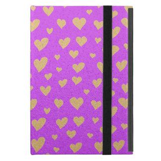 Capa iPad Mini Poucos corações do ouro no fundo roxo do Shimmer