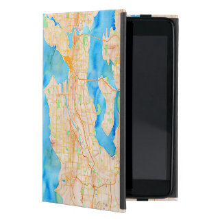 Capa iPad Mini Seattle e mapa da aguarela de Puget Sound