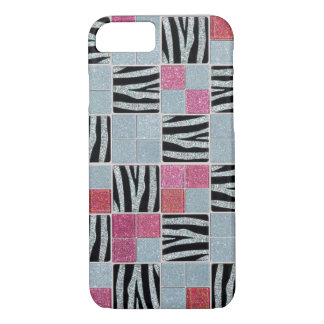 Capa iPhone 8/7 A zebra dos Sparkles & do brilho telha a caixa do