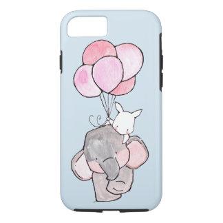 Capa iPhone 8/7 Amigos do elefante e do coelho com balões
