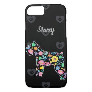 Capa iPhone 8/7 Amor personalizado meu design floral do Schnauzer