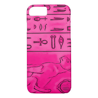 Capa iPhone 8/7 arte cor-de-rosa egípcia de Pharoah do topázio do