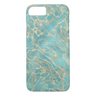 Capa iPhone 8/7 Azul, mármore do ouro, móbil bonito
