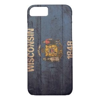 Capa iPhone 8/7 Bandeira de madeira velha de Wisconsin