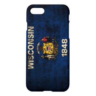 Capa iPhone 8/7 Bandeira de Wisconsin do Grunge