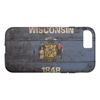 Capa iPhone 8/7 Bandeira do estado de Wisconsin na grão de madeira