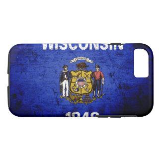 Capa iPhone 8/7 Bandeira preta do estado de Wisconsin do Grunge