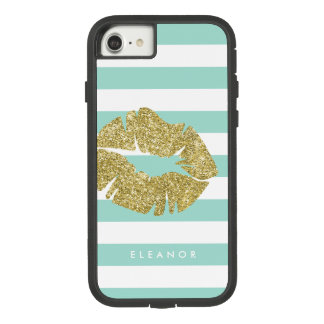 Capa iPhone 8/7 Beijo do brilho do ouro personalizado