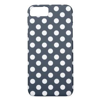 Capa iPhone 8/7 Bolinhas brancas em azul-cinzas