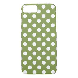 Capa iPhone 8/7 Bolinhas brancas na verde azeitona
