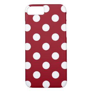 Capa iPhone 8/7 Bolinhas brancas no vermelho carmesim