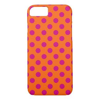 Capa iPhone 8/7 Bolinhas fúcsia na laranja