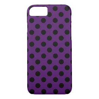 Capa iPhone 8/7 Bolinhas pretas no roxo da ameixa