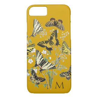 Capa iPhone 8/7 Borboleta amarela botânica, Monogrammed