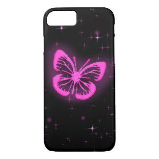 Capa iPhone 8/7 Borboleta cor-de-rosa com sparkles