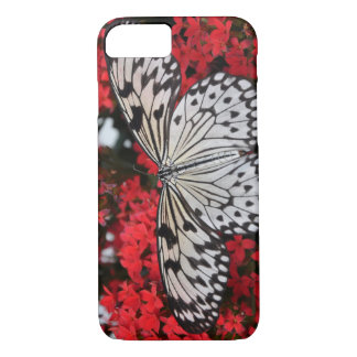 Capa iPhone 8/7 borboleta preto e branco nas flores vermelhas,
