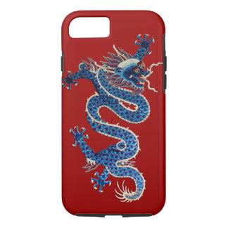 Capa iPhone 8/7 Bordado oriental azul do chinês da antiguidade do