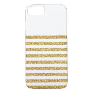 Capa iPhone 8/7 Brilho do ouro e listra branca