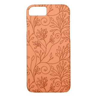 Capa iPhone 8/7 Caixa alaranjada floral elegante do iPhone 7