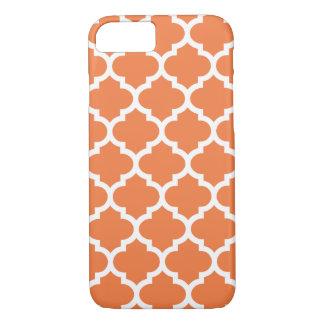 Capa iPhone 8/7 Caso do iPhone 7 de Quatrefoil na laranja do