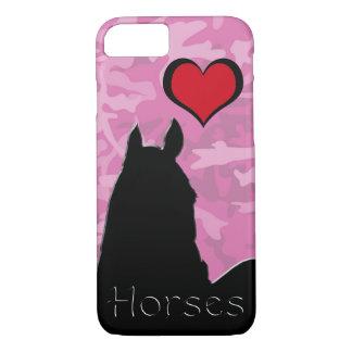 Capa iPhone 8/7 Cavalo do coração mim (camo cor-de-rosa)