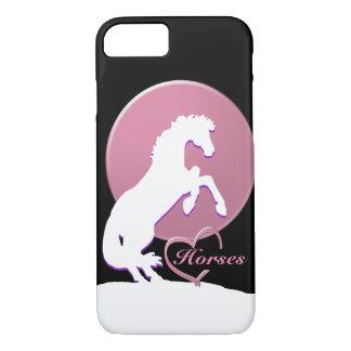 Capa iPhone 8/7 Cavalos brancos do coração V (rosa)