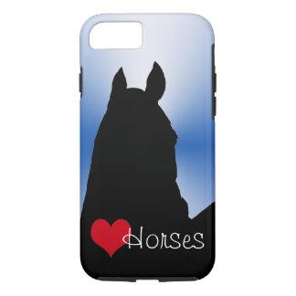 Capa iPhone 8/7 Cavalos do coração com coração vermelho (explosão
