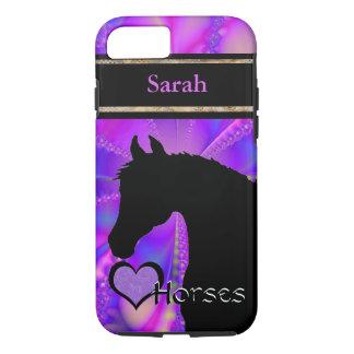 Capa iPhone 8/7 Cavalos do coração III customizável (Fractal 100)