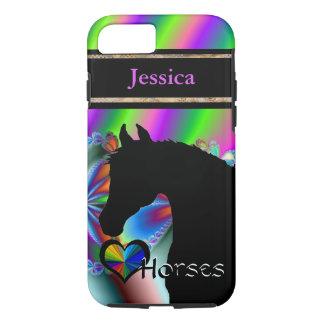 Capa iPhone 8/7 Cavalos do coração III customizável (Fractal 116)