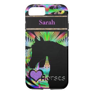 Capa iPhone 8/7 Cavalos do coração III customizável (Fractal 119)