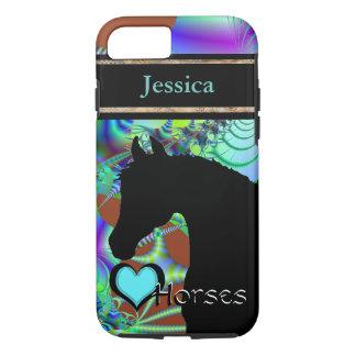 Capa iPhone 8/7 Cavalos do coração III customizável (Fractal 43)