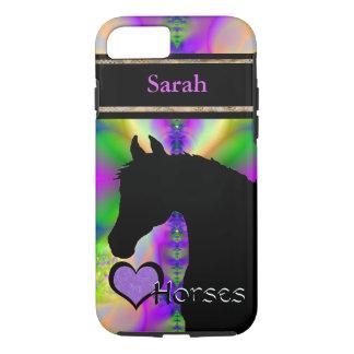 Capa iPhone 8/7 Cavalos do coração III customizável (Fractal 85)