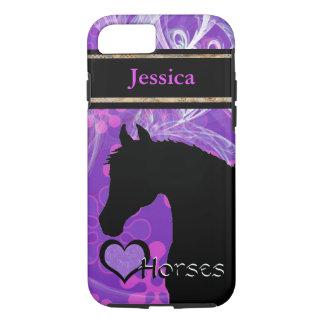 Capa iPhone 8/7 Cavalos do coração III customizável (roxo