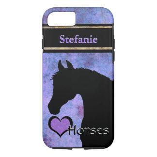 Capa iPhone 8/7 Cavalos do coração III customizável (roxo/azul)