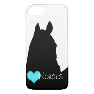 Capa iPhone 8/7 Cavalos do coração mim coração do Aqua (fundo