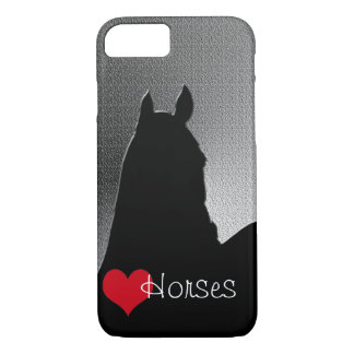 Capa iPhone 8/7 Cavalos do coração mim coração vermelho (metálicos