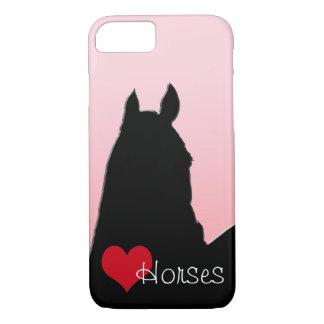 Capa iPhone 8/7 Cavalos do coração mim (rosa desvanecido)