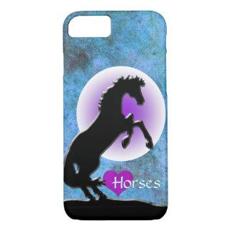 Capa iPhone 8/7 Cavalos do coração V (azul/verde)