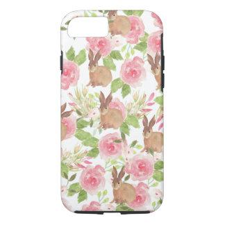 Capa iPhone 8/7 Coelho de coelho marrom floral dos rosas