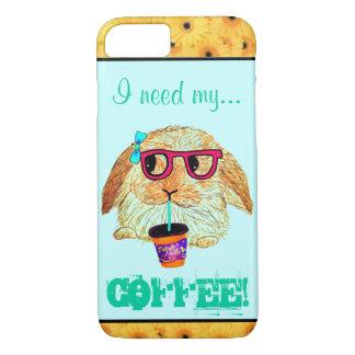 Capa iPhone 8/7 Coelho do hipster com café