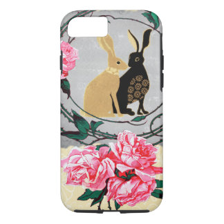 Capa iPhone 8/7 Colagem romântica do rosa das lebres do Jackrabbit