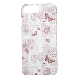 Capa iPhone 8/7 Colagem rosado romântica da carta de amor do
