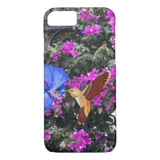 Capa iPhone 8/7 Colibri dourado, hibiscus azul, & Bougainvillea