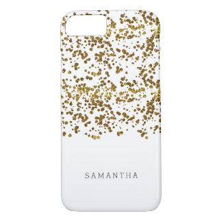 Capa iPhone 8/7 Confetes do brilho de Bling do ouro