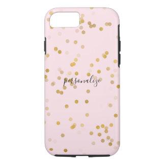 Capa iPhone 8/7 Confetes femininos do ouro cor-de-rosa