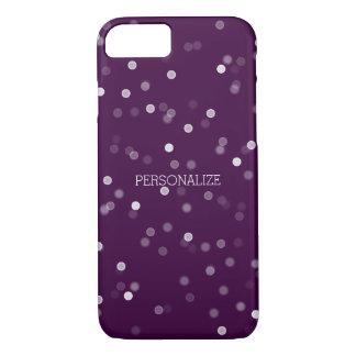 Capa iPhone 8/7 Confetes roxos e brancos de Bokeh