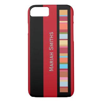 Capa iPhone 8/7 cor-listras com costume-nome