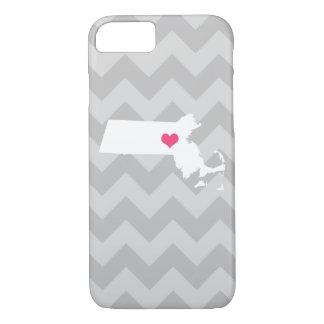 Capa iPhone 8/7 Coração cinzento personalizado de Chevron